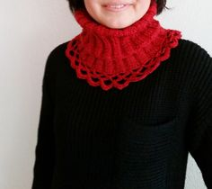 Red melange Turtleneck Collar Cowl Winter Women Wear by Hisliden