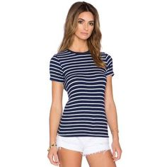 Camisetas O-Neck Cotton Striped-Azul