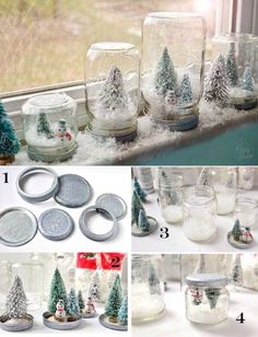 Diy Christmas snow globes ~ my aunt makes these for me and our family