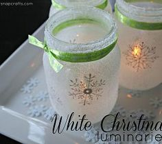 White Christmas Mason Jar Luminaries Centerpieces for Max's party? @Hannah Cornell-Schroeder