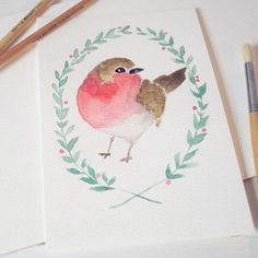 416 vind-ik-leuks, 10 reacties - Shayda Campbell (@shaydacampbell) op Instagram: 'Tonight's tutorial is all about how to paint watercolor winter birds, like robins and chickadees.…'