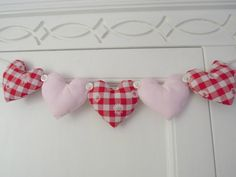 Fabric Heart Garland Red Daisy Gingham and Pink by RubyRedcrafts, $10.00