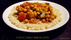 Zielona Chrupalnia : pikantny kuskus z warzywami, cieciorka i daktylami... Free Blog, Chana Masala, Make It Simple, Vegan, Ethnic Recipes, Food, Essen, Meals, Vegans