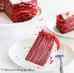 Made with layers of thin red velvet crepes and filled with tangy cream cheese filling, this crepe cake tastes as delicious as it looks! Perfect dessert for Valentine's Day. Crepes, Crepe Recipes, Pie Recipes, Delicious Recipes, Recipies, Gluten Free Bakery, Crepe Cake, Dessert Decoration, Cake Tasting