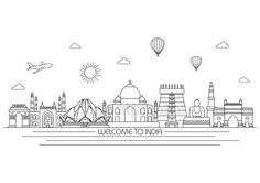Drawing Doodles Sketchbooks India skyline line illustration Skyline Design, Skyline Art, Skyline Tattoo, Peace Poster, Diy Embroidery Patterns, City Drawing, Skyline Silhouette, Indian Folk Art, India Art