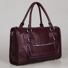CLEO MEDIUM #EGGPLANT #Leather #bag clip on laptop 15in by Adeleshop, $175.00