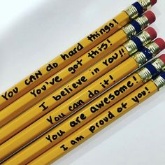 Classroom Culture: Cute encouraging words on pencils are nice if students have a hard test and need a little boost. Classroom Community, Future Classroom, School Classroom, Classroom Ideas, Classroom Design, Beginning Of School, Back To School, First Day Of School, School Life