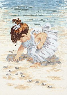 Collecting Shells, Janlynn, Kit includes: 14-count cotton Aida fabric, 6-strand cotton floss, needle, graph, instructions. (Mat / Frame not included.)29-0019