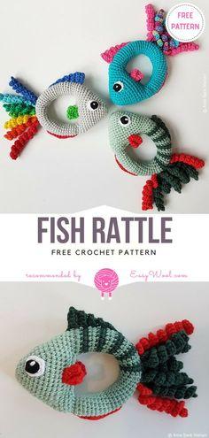 Fish Rattle Free Crochet Pattern on Easywool.com #freecrochetPatterns #amigurumi #amigurumiowl #freepattern #crochetfreepatternforbaby #crochetbabyblanket #crochetstitch #crochettoy #rattle #fish