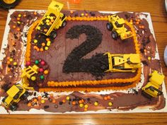 (Bulldozer, Dump Truck, Excavator, Digger, Steam Roller) Easy to Make! Digger Birthday Parties, Drake's Birthday, Toddler Birthday Cakes, 1st Birthday Party Themes, Construction Birthday Parties, Birthday Ideas, Construction Theme, Digger Cake, Party Cakes
