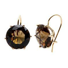 Ralph Lauren Goldtone Olive Brown Gemstone Stud Earrings | Overstock.com Shopping - Big Discounts on Ralph Lauren Fashion Earrings