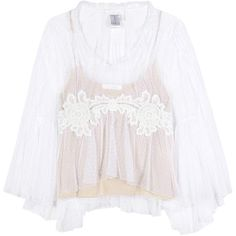 Chloé Lace-Trimmed Tulle Blouse (9189545 PYG) ❤ liked on Polyvore featuring tops, blouses, shirts, long-sleeved, white, tulle shirt, white long sleeve blouse, lace trim blouse, extra long sleeve shirts and white long sleeve shirt
