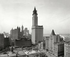 The Woolworth Building under construction in 1913. One hundred years later, the top 30 floors of the former department store headquarters are being converted to 40 luxury apartments, with a five-story penthouse in the cupola. Other New York landmarks in this view include City Hall Park and its post office, as well as the Singer and Park Row towers.