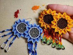 Cross Stitch Tutorial, Bead Art, Crochet Earrings, Seed Beads, Jewelry Making, Flowers, Pattern, Projects, How To Make