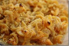 Macaroni and cheese made with sweet potato and nutritional yeast to replace the cheese sauce.