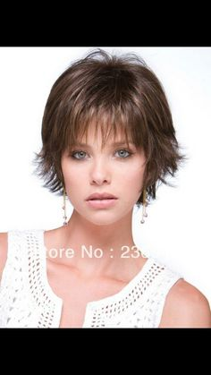 Short hair with wispy bangs                                                                                                                                                      More