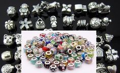 "Wholesale Mixed Lot of 10 pcs - 5 Antique Silver Charms and 5 Murano Glass Beads - ""Pandora"" STYLE"