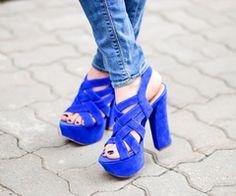 Blue Velvet Strappy Heels <3