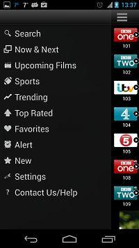 TV Guide UK menu