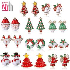 New Fashion Women Santa Claus Snowman lovely Tree Bell Christmas Jewelry Christmas Earring For Women Gifts EH043  Price: 1.26 USD