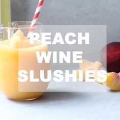 Peach Wine Slushies will be your new favorite summer drink. These no-sugar added peach slushies are perfect poolside or for a girls night in! Plus get tips on how to make the best wine slushies! Peach Wine, Peach Drinks, Summer Drinks, Cocktail Drinks, Fun Drinks, Cocktail Recipes, Cocktails, Beverages, Wine Slushie Recipe