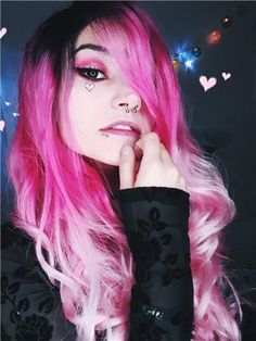 Long Splendid Pink To Blonde Ombre Wavy Synthetic Lace Front Wig – Cillyy® Pink Blonde Hair, Hair Color Pink, Blonde Ombre, Cool Hair Color, Ombre Hair, Synthetic Lace Front Wigs, Synthetic Wigs, Goth Beauty, Hair Beauty