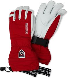 Hestra Army Leather Heli Ski Gloves, Red, 10. Hestra handcuffs to secure gloves to wrist. Upper section made of windproof, waterproof and breathable HESTRA Triton three-layer polyamide fabric; Proofed Army Leather-goat leather palm. Removable Bemberg/polyester lining with polyester insulation. Snow lock strap with Velcro closure. Hestra Carabiner.