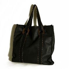 Leather handbag Extra large black leather by ElenaVandelliBags City Bag 24b6b96225715