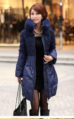 Womens Blue Down Coat - Coat Nj