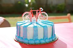 This Vintage Toys Birthday Party is just way too cute. Created by Lindsey of Bella Grace Party Designs – who found her inspiration in a line Bicycle Birthday Parties, Bicycle Party, Bicycle Cake, Bike Cakes, Striped Cake, Just Cakes, Party Entertainment, Childrens Party, Party Cakes