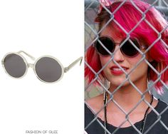 Topshop Clear Large Seventies Round Sunglasses - $36.00 Worn with: (similar)Blue Life skirt Also worn in: 3x01 'The Purple Piano Project' (later in the episode) with Urban Outfitters top, Urban Outfitters skirt,Target boots
