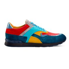 Suede blue-red-grey-yellow sneakers for men from Armos