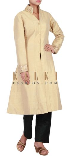 Buy Online from the link below. We ship worldwide (Free Shipping over US$100) http://www.kalkifashion.com/beige-a-line-suit-adorn-in-embroidered-collar-only-on-kalki.html