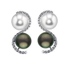 14KW 9-9.5MM White Freshwater Cultured Pearl and Tahitian Cultured Pearl earrings with 46 total diamonds at .56 cttw. Crown Select Collection.