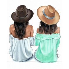 Este posibil ca imaginea să conţină: unul sau mai mulţi oameni şi pălărie Best Friend Drawings, Girly Drawings, Girl Drawing Sketches, Cute Girl Drawing, Fashion Design Drawings, Fashion Sketches, Friends Sketch, Girly M, Best Friends Forever