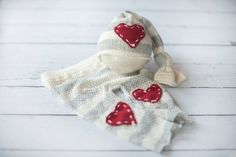 Red White and Grey Newborn Pant and Hat by thetreetopshoppe