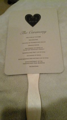 Program Fans: Side 1: The Ceremony Side 2: The Wedding Party