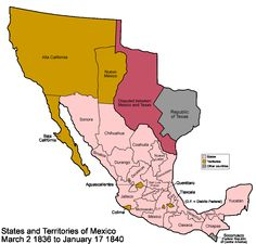 Map of Mexico in 1824 showing the territory later lost to the