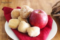 Cider Spiced Donut Holes: Semi-homemade with store bought biscuit dough-sugar-cinnamon-pumpkin spice- Grab a caramel-dip-for one and makes for a great breakfast on the go or lunchtime snack
