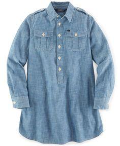Ralph Lauren Girls' Utility Shirtdress