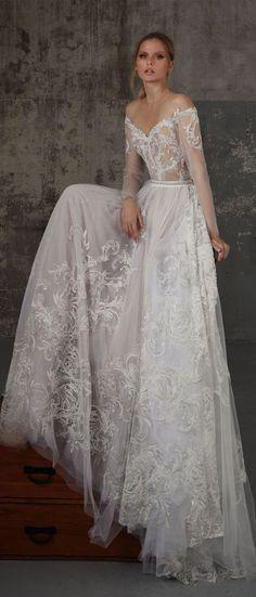Off the shoulder long sleeves wedding dress, Boho wedding dress : Lior Charchy Fall 2018 Wedding #weddingdress #weddinggown #bridalgown #weddinggowns