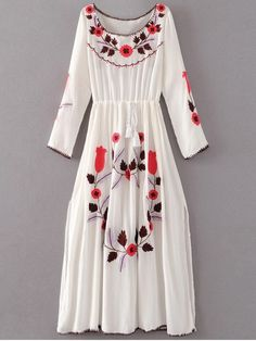 Floral Embroidered Long Sleeve Slit Vintage Dress - WHITE L