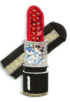 Diva in training Add to felt quiet book or fabric block LIPSTICK RED SEQUIN/EMBROIDERED IRON ON APPLIQUE...