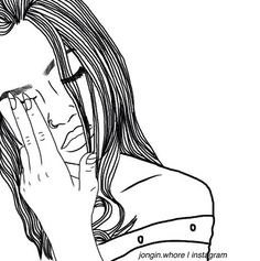 Imagen vía We Heart It #art #blackandwhite #draw #drawing #girl #grunge #outline #sad
