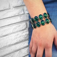 Double Crush Bracelet in emerald. #TraciLynnJewelry