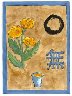 """MU"",the ideogramm. It means ""Emptyness"" or ""Nothing"". The ritual circle, the tea and the flowers, as well as the essencial and imperfect background try to render this essence of Zen buddhism"