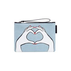 Lulu Guinness Women's Heart Hands Denim Grace Pouch - Denim (27.455 HUF) ❤ liked on Polyvore featuring bags, handbags, clutches, pouch purse, blue clutches, lulu guinness handbags, denim handbags and heart shaped purse