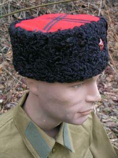 baf35bc47a3 Reproduction Kuban Cossack enlisted ranks Kubanka winter hats with black  stripes.WW2 Maker marked on