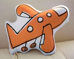 Airplane Pillow Orange by LittleKorboose on Etsy