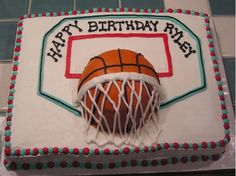Basketball With Backboard And Hoop on Cake Central